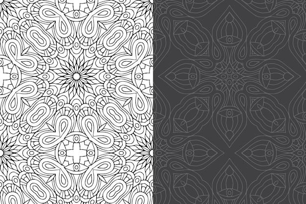 Nahtloses musterset des luxuriösen dekorativen mandala-designs.