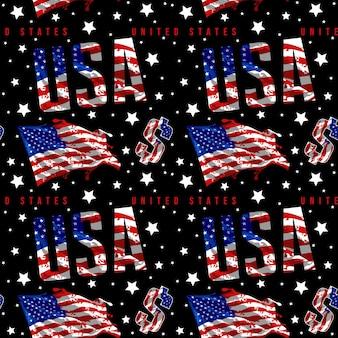 Nahtloses mustervektordesign der amerikanischen sammlung