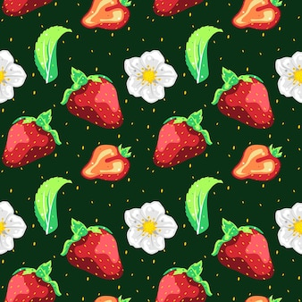 Nahtloses mustervektordesign der erdbeere Premium Vektoren