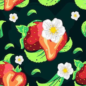 Nahtloses mustervektordesign der erdbeere
