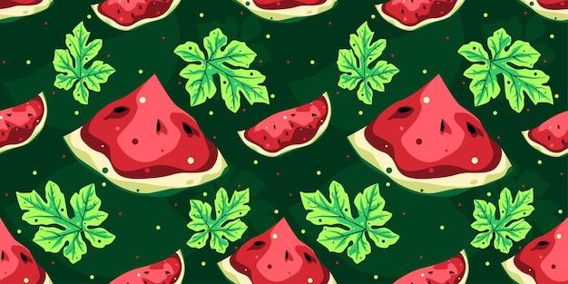 Nahtloses mustervektordesign der wassermelone