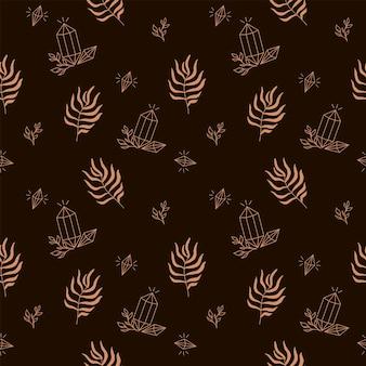 Nahtloses mystisches muster mit kristall und palmblatt auf braunem hintergrund digitales papier