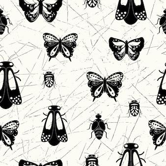 Nahtloses natürliches abstraktes muster auf weißem hintergrund insekten schwarzweiß