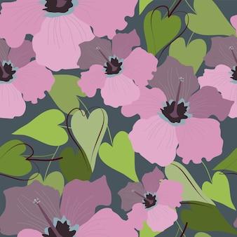 Nahtloses natürliches blumenmuster abstrakter rosa hibiskus und grüne blätter auf einem dunkelblauen hintergrund