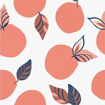 Nahtloses naturmuster abstrakte rosa früchte zeichnen auf weißem hintergrund