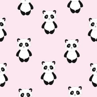 Nahtloses nettes karikatur-panda-muster