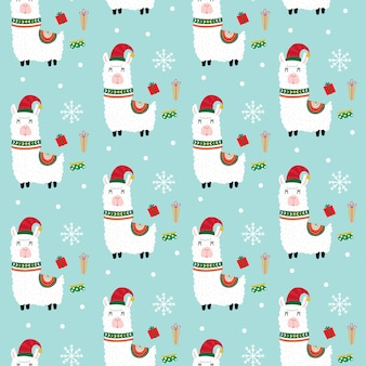 Nahtloses nettes lama mit weihnachtsgeschenk