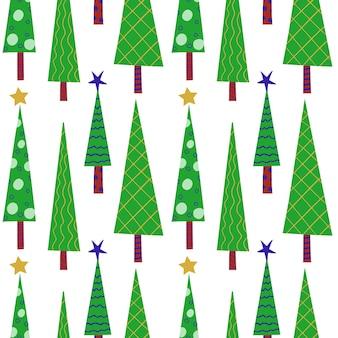 Nahtloses neujahrsmuster von grünen stilisierten verzierten weihnachtsbäumen