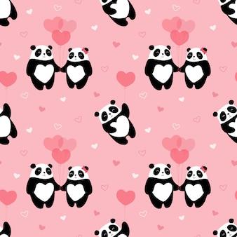 Nahtloses niedliches muster, pandas, herzen, liebhaber, geschenk, valentinstag, bärenfliegen in einem ballon, winter, valentinstag.