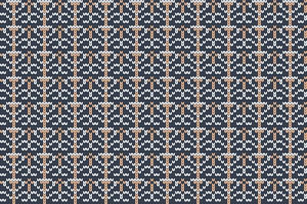 Nahtloses nordisches strickmuster in den farben blau, orange, grau.