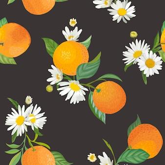 Nahtloses orangefarbenes muster mit tropischen früchten, blättern, gänseblümchenblumenhintergrund. handgezeichnete vektorillustration im aquarellstil für sommerabdeckung, tropische tapete, zitrusweinlesebeschaffenheit