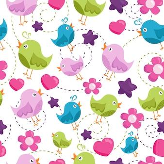 Nahtloses ornament mit cartoon-vögel-blumen-sternen print für stofftapeten für babys
