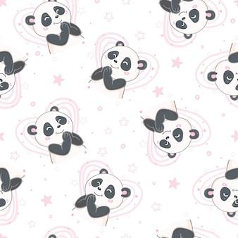 Nahtloses panda-muster der karikatur