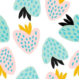 Nahtloses pastellmuster mit beeren. abstrakte handgezeichnete erdbeeren auf weißem hintergrund. vektorillustration, hintergrund, tapetenschablone für karten, fahnen, druckgewebe, t-shirt, textil.