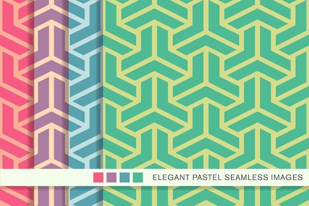 Nahtloses pastellmuster polygon 3d-dreieckskreuz