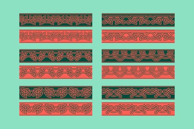 Nahtloses randverzierungsset der keltischen knotenarbeit