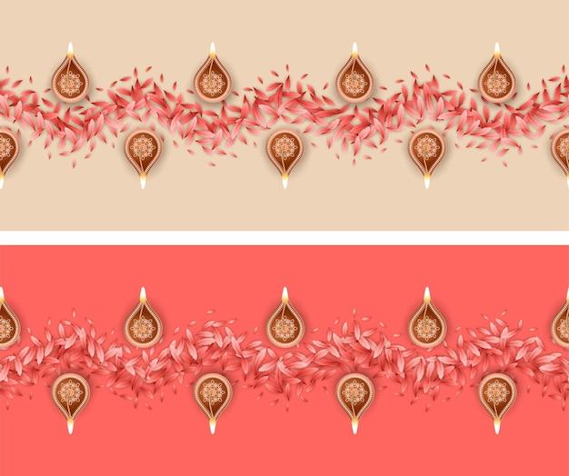 Nahtloses rangoli-muster für das diwali- oder pongal-festival aus blütenblättern und brennenden diya-lampen