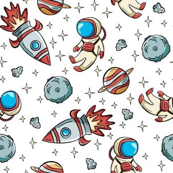 Nahtloses raummuster mit astronautenrakete und planeten im doodle-stil