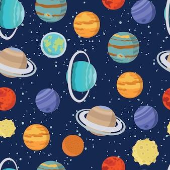 Nahtloses raummuster mit mond und sternen des sonnensystemplaneten