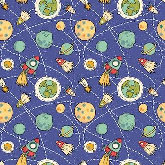 Nahtloses raummuster mit raum, raketen, kometen und planeten. kindlicher hintergrund. hand gezeichnete vektorillustration.