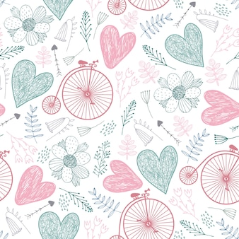 Nahtloses romantisches muster. herzen, blumen, vintage fahrräder frühling, sommer, hochzeit hintergrund pastellfarben