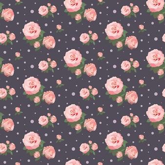 Nahtloses rosenmuster-blumenhintergrund-weinlese-blumendesign