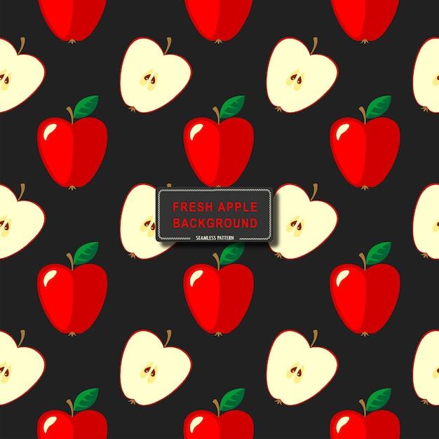 Nahtloses rotes apfelmuster auf schwarzem hintergrundvektorillustrations-hintergrunddesign