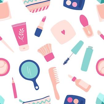 Nahtloses schönheits- und make-up-kosmetikmuster