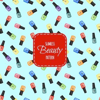 Nahtloses schönheitsmuster mit nagellack