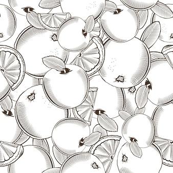 Nahtloses schwarz-weiß-muster mit äpfeln und orangen im vintage-stil