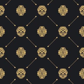 Nahtloses schwarzes muster des königlichen barock. viktorianische dekorative hintergrundtapete.