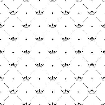 Nahtloses schwarzes muster mit königskronen auf weißem hintergrund. vektorillustration