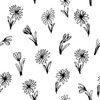 Nahtloses schwarzweiss-blumenmuster. vektor-illustration