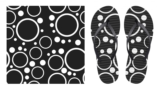 Nahtloses schwarzweiss-muster des abstrakten sommers mit kreisen und ringen. musterdesign zum drucken auf flip-flops.