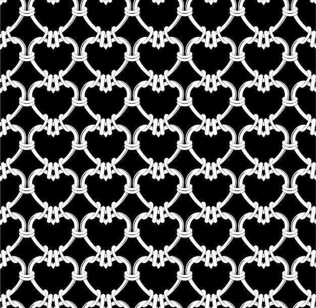 Nahtloses schwarzweiss-muster des weißen herzens