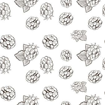 Nahtloses schwarzweiss-muster mit brombeeren im vintage-stil