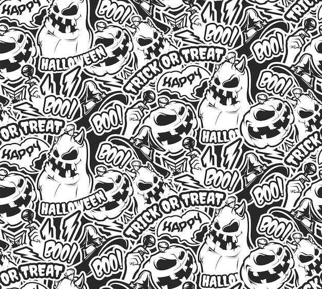 Nahtloses schwarzweiss-muster mit halloween-kürbissen