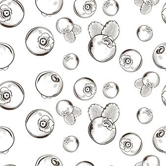 Nahtloses schwarzweiss-muster mit heidelbeeren im vintage-stil