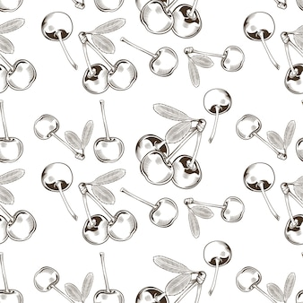 Nahtloses schwarzweiss-muster mit kirschen im vintage-stil