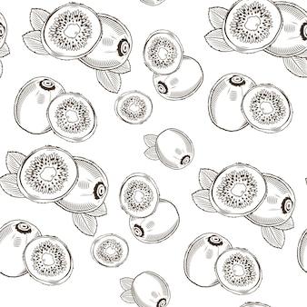 Nahtloses schwarzweiss-muster mit kiwi im vintage-stil