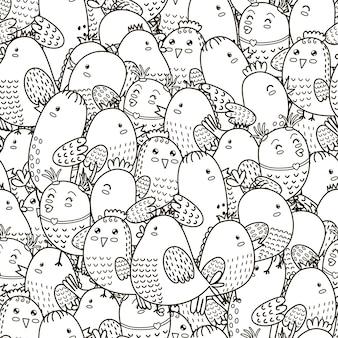 Nahtloses schwarzweiss-muster mit niedlichen vögeln