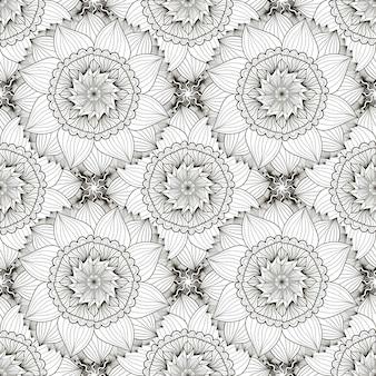 Nahtloses schwarzweiss-muster mit sonnenblumen