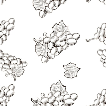 Nahtloses schwarzweiss-muster mit trauben im weinlesestil