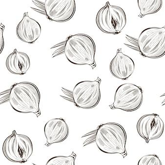 Nahtloses schwarzweiss-muster mit zwiebel im weinlesestil