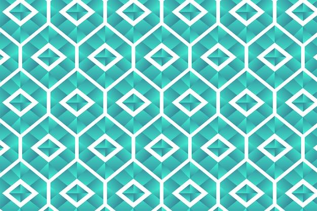 Nahtloses sechseck- und quadratmuster mit blauer lichtverlaufsfarbe wie eine diamantform lokalisiert auf weißem hintergrund