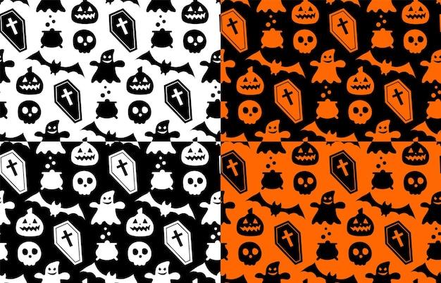 Nahtloses sich wiederholendes muster mit halloween-symbolen. design von silhouetten für den urlaub halloween. für postkarte, stoff, banner, vorlage, geschenkpapier. flache vektorgrafik.