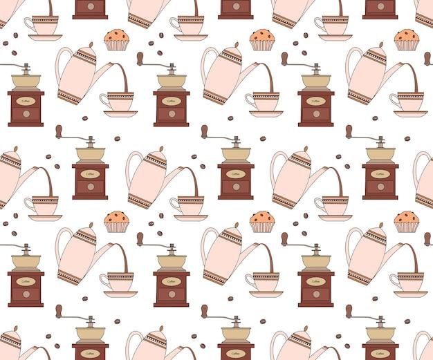 Nahtloses sich wiederholendes muster mit kaffeekanne tasse kaffeemühle und cupcake