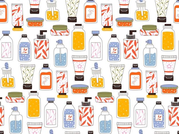 Nahtloses sich wiederholendes muster mit kosmetik. eine reihe von flaschen und tuben, gläser für die hautpflege mit gesichts-, haar- und körpercreme. modestil für eine postkarte, ein banner, eine vorlage für geschenkpapier. vektor.