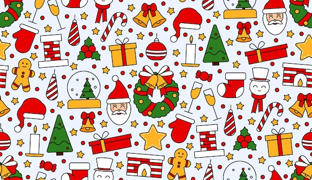 Nahtloses sich wiederholendes muster mit symbolen für weihnachten und guten rutsch ins neue jahr. im traditionellen vintage-stil für postkarte, stoff, banner, vorlage für glückwünsche, geschenkpapier. flache vektorgrafik.