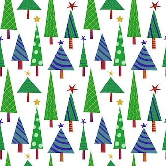 Nahtloses silvestermuster von grünen stilisierten geschmückten weihnachtsbäumen